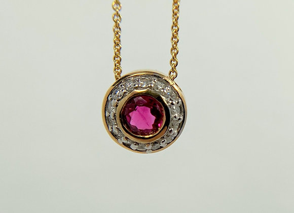 Ruby & Diamond Pendant 14k yellow gold