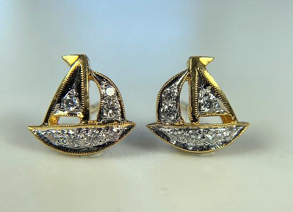 Diamond Earring Sailboats