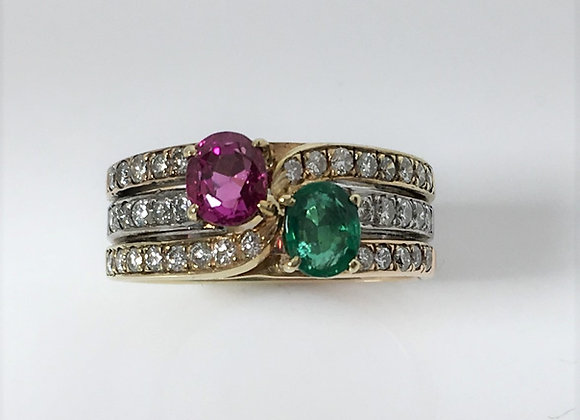 Pink Sapphire, Emerald & Diamond Ring