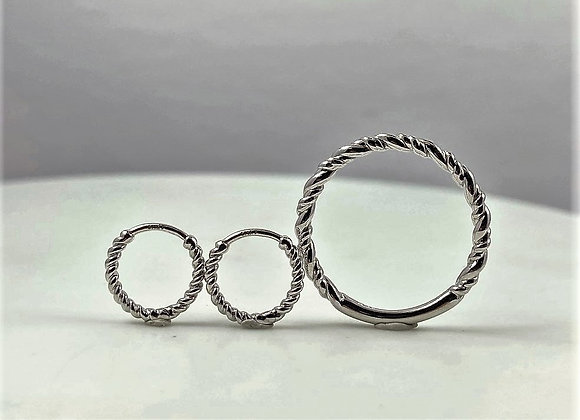 14k White Gold Rope Twisted ring and earrings