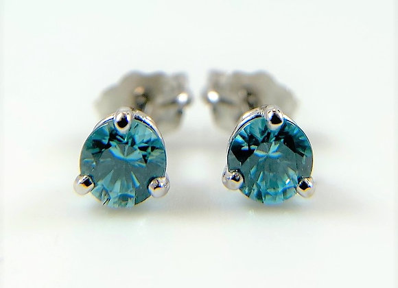 Blue Zircon stud earrings, 14k white gold