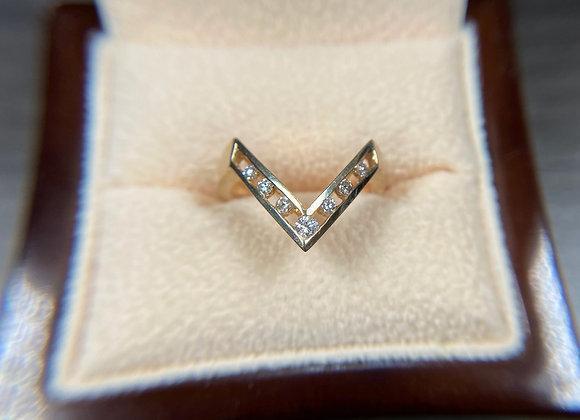 14k yellow gold Chevron ring with diamonds