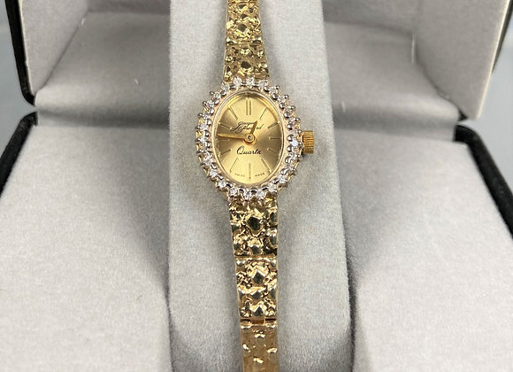 Jacques Prevard 14k yellow gold nugget watch with diamonds