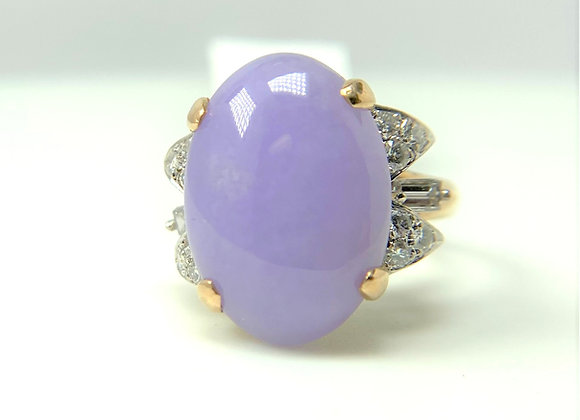 Lavendar Jade and diamond ring, 14k yellow gold