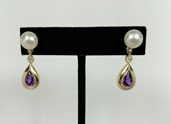 Freshwater Pearl with Amethyst and diamond