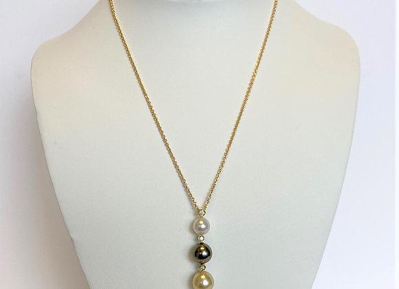Triple South Sea Pearl & Diamond Pendant