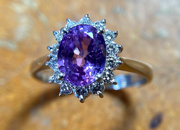 Purple Sapphire Halo ring
