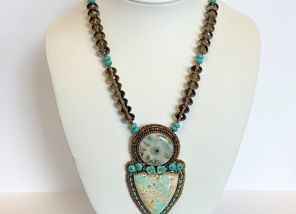 Turquoise & Smokey Quartz Necklace