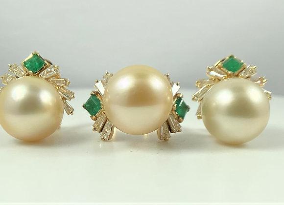 South Sea Pearl, Diamond and Emerald Set