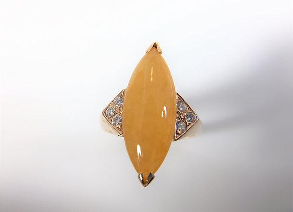 Yellow Jade and diamond ring, 14k yellow gold