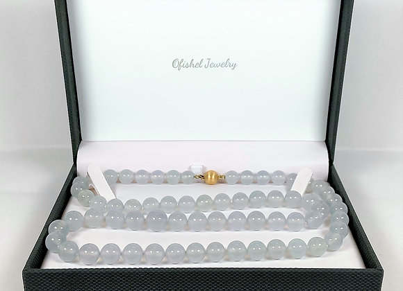 White Jade bead necklace, Certified Natural