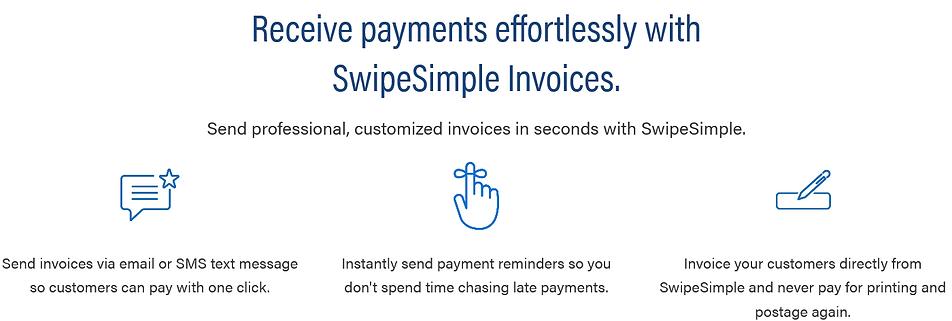 swipesimple screenshots invoice features