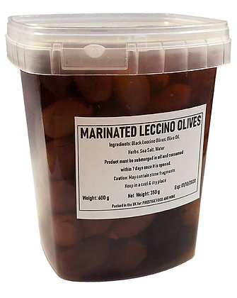 PRESTIGE - Marinated Leccino (pitted) Olives - 600g - drained weight 350g