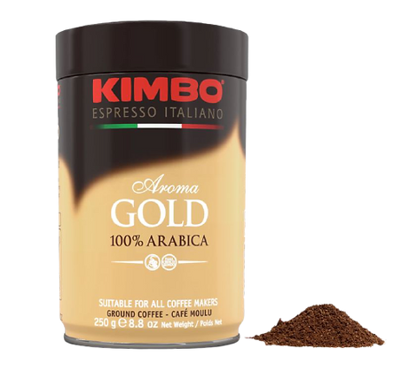 KIMBO - Aroma Gold 100% Arabica - Ground Coffee - 250g Tin
