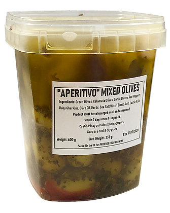 PRESTIGE - Aperitivo Mixed (pitted) Olives - 600g - drained weight 350g