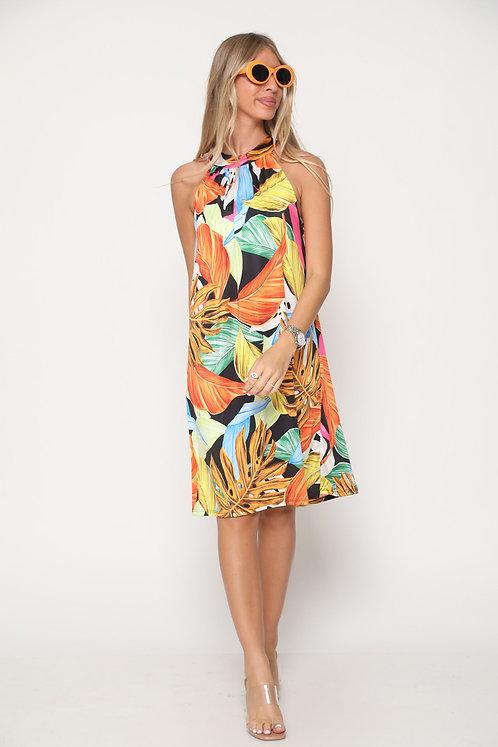 ♥ שמלת קולר באווירת הוואי עם קשירה בגב ♥ GL-11070