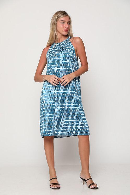 ♥ שמלת קולר בהדפס משולשים עם קשירה בגב ♥ GL - 11106