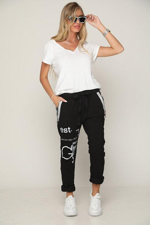 🔥 מכנסי גומי ושרוך עם כיתובים ורכסן ללוק לוהט 🔥 GL-11129