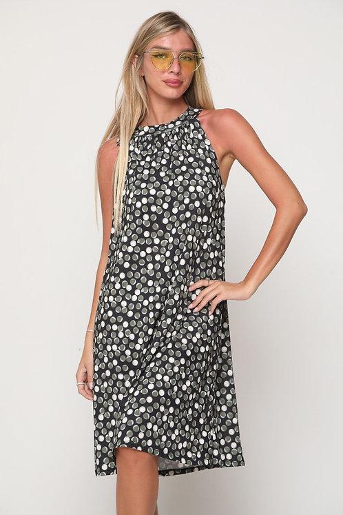 ♥ שמלת קולר בהדפס עיגולים עם קשירה בגב ♥ GL - 11107