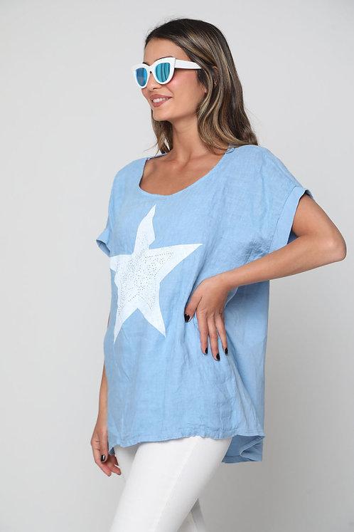 חולצת פישתן כוכב מהממת ♥ G10913