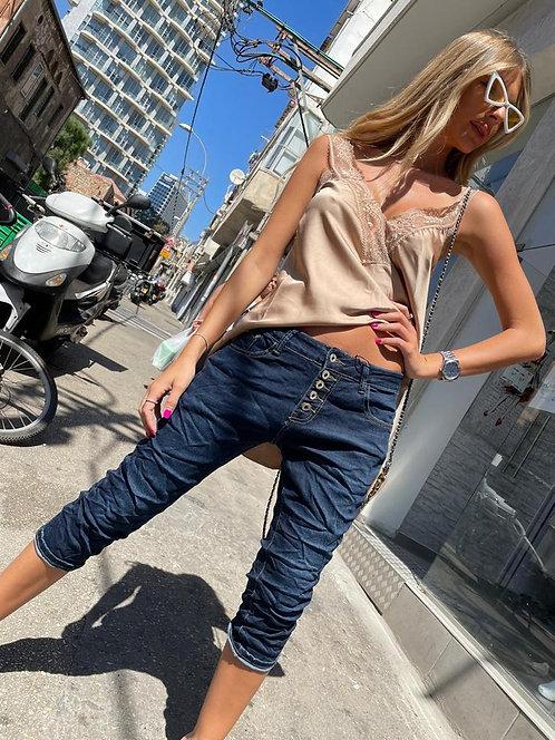 ♥ ג'ינס 7/8 כהה עם כפתורים  ♥ ML -658