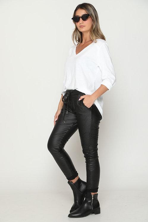 ♥ 11235 ♥ מכנסי גומי דמוי עור- שלמות
