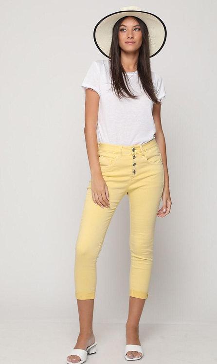 ♥ ג'ינס 7/8 כפתורים צהוב של גאטו ב-50% שיאיר לך את הקיץ ♥ GA-02428