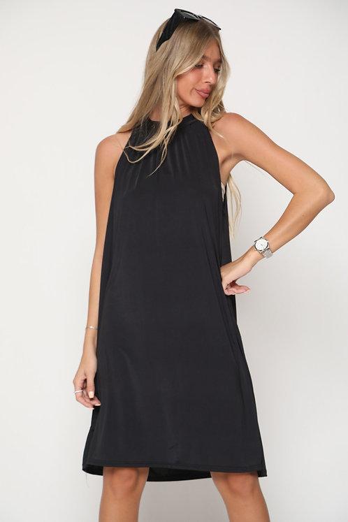 ♥ שמלת קולר חלקה עם קשירה בגב ♥ GL-11069