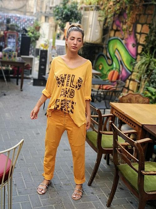 ♥ WILD AND FREE חולצה מנומרת ♥ MR - 21087