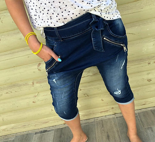 ♥ שאקי ג'ינס 7/8 משגע עם רוכסנים וחגורה ♥ ML - 663
