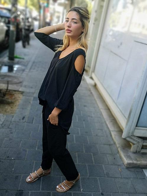 ♥ חולצה קז'ואלית עם כתפיים פתוחות ♥ MR - 21086