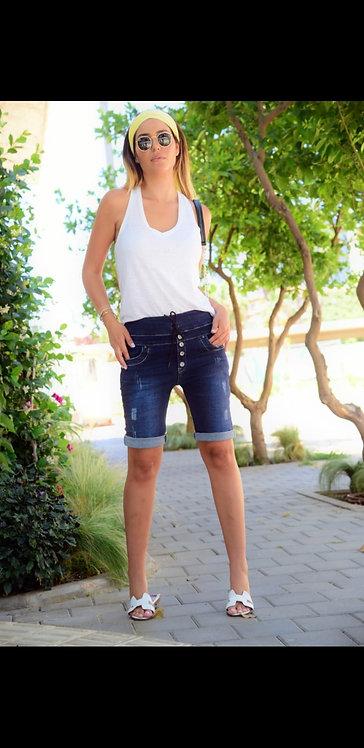 ♥ ג'ינס קצר בשילוב לייקרה עם כפתורים ושרוך ♥ U7 - 70700