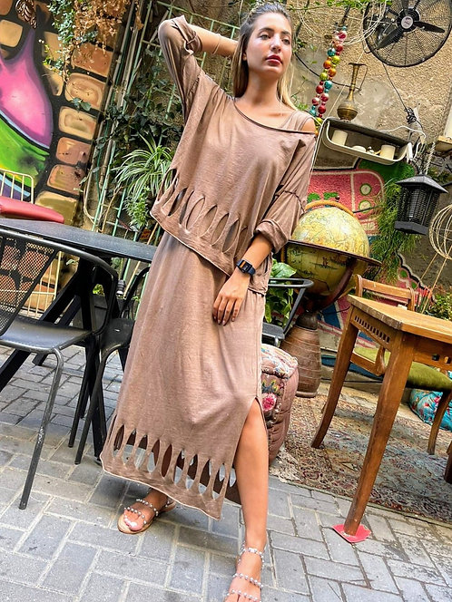 ♥ טווין סט חולצה ושמלה בעיצוב היסטרי ♥ MR - 21203
