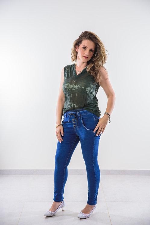 """מבצע חיסול!!!   ג'ינס """"בויפרנד"""" מדליק עם שרוכים וכפתורים♥  1702"""