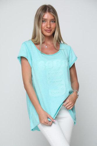 ♥ חולצת אוברסייז עם הדפס מובלט מדליק ♥ GL - 10805