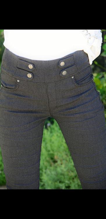♥ מכנסי סקיני עם לייקרה וכפתורים קדמיים ♥ U7- 9003232