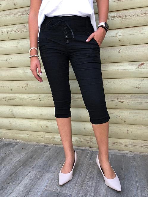 700787 😻  מכנס סקיני דריל 7/8 שחור 😻
