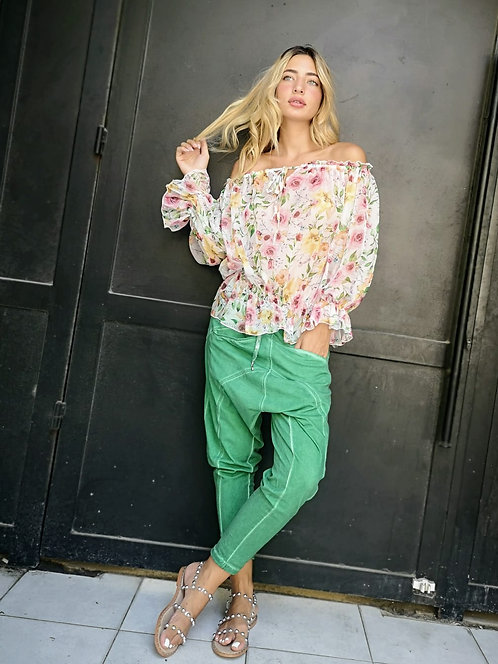♥ חולצת שיפון מתוקה בהדפס פרחים ♥ MR - 21190
