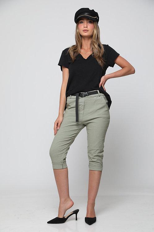 מכנסי גומי 7/8חלק עם חגורה בצבעי קיץ GL10841