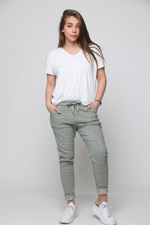 מכנסי גומי משובץ ♥10797 ♥