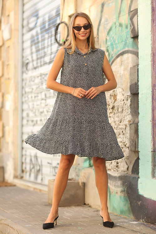 ♥ שמלה רחבה עם מפתח וי כפתורים ♥ MAU - 200647