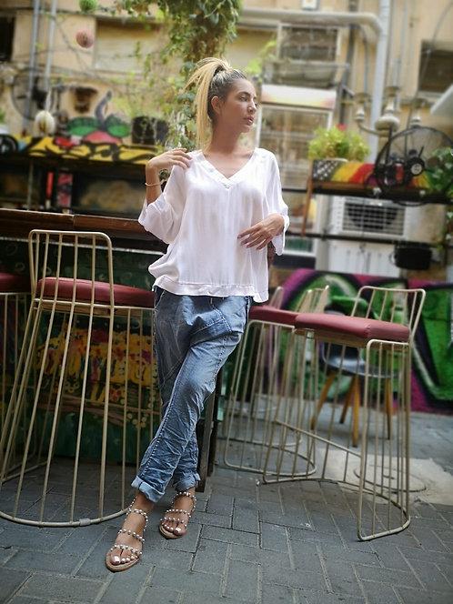 ♥ חולצת אוברסייז בגימורי סאטן ♥ MR - 21197