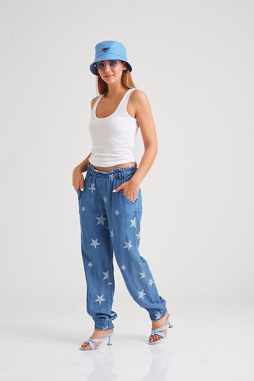 EL66068 ♥מכנס גומי כוכבים עם חגורה שיקית♥