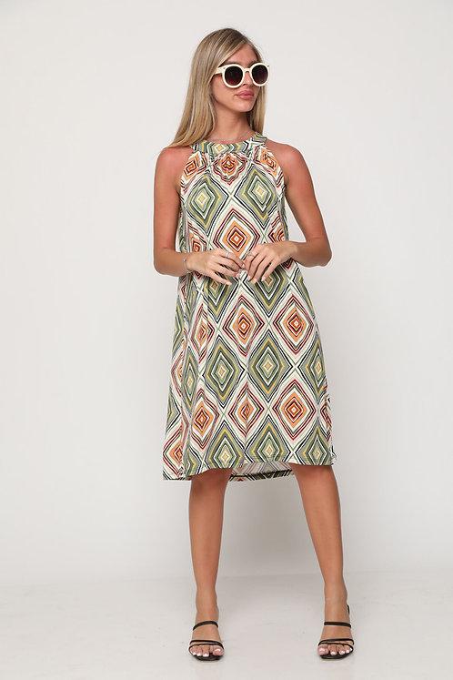 ♥ שמלת קולר בהדפס מעויינים וינטאג' ♥ GL - 11103