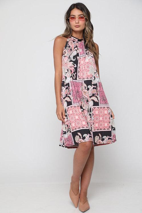 ♥ שמלת קולר בהדפס אתני עם קשירה בגב ♥ GL-10979