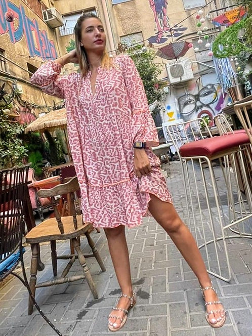 ♥ שמלה רחבה בהדפס מנומר משגע ♥ MR - 21300