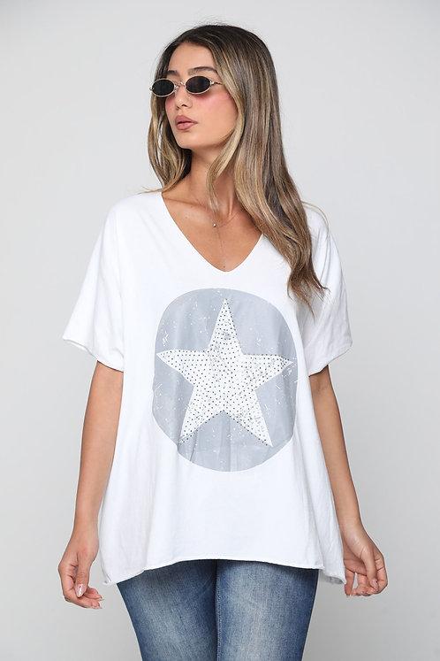 g10713 ♥חולצת אוברסייז עיגול כוכב אבנים מדליקה ♥