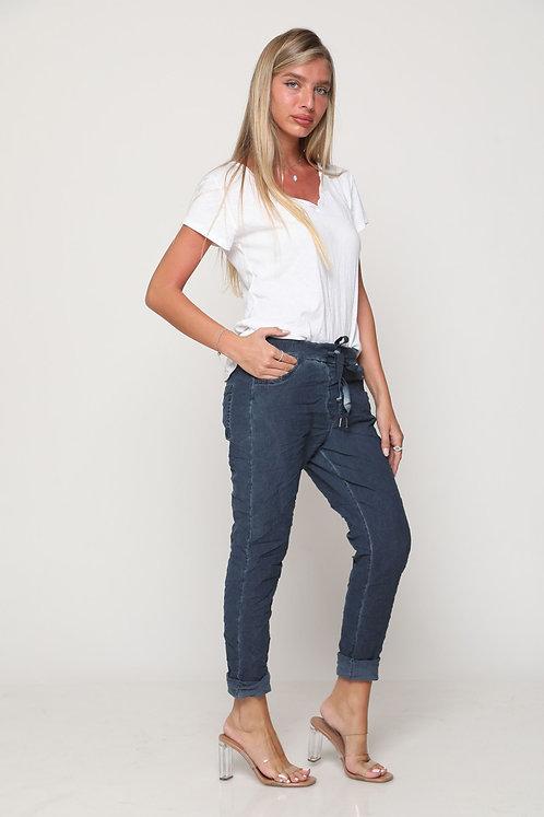 ♥ מכנסי גומי חלקות עם גומי ושרוך ♥ GL - 11095