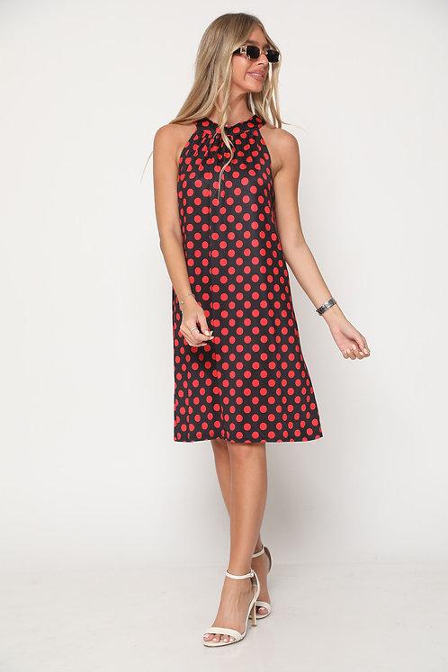 ♥ שמלת קולר בהדפס נקודות עם קשירה בגב ♥ GL-11071
