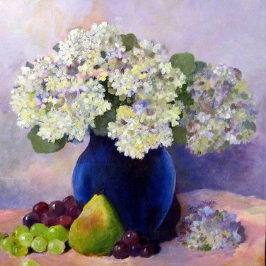 Hydrangeas and Fruit